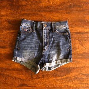 High waisted dark wash jean shorts